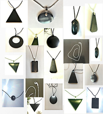Shungite Pendant Necklace Polished VARIATIONS C60 EMF Chakra KARELIAN Guaranteed