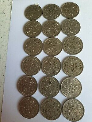 18 X Elizabeth II Sixpence Coins, Various Dates