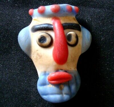 Ancient Phoenician Old Face Islamic Mosaic Glass Blue Beard Bead Pendant 721