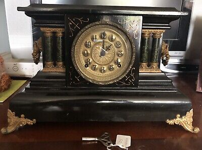 Large 19th Century Wooden Mantle Clock With Original Key