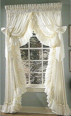 """Ruffled Curtains White 100"""" Wide X 84"""" Long"""