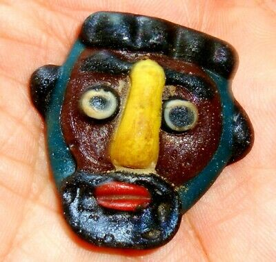 Ancient Phoenician Brown Face Yellow Nose  Mosaic Glass Beard Bead Pendant 726