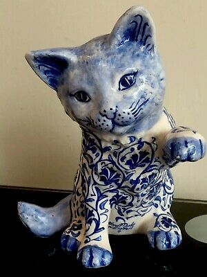 Hand Painted Pottery Blue White Cat Kitten Raised Paw Fettah Gani
