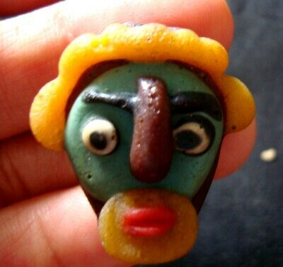 Ancient Phoenician Green Face Curly Yellow Hair Mosaic Glass Bead Pendant 734