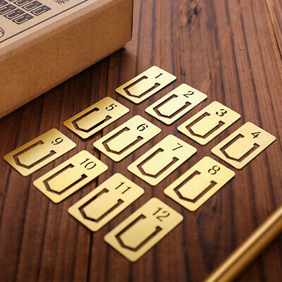 12pcs/pack Mini Bookmark Clips Cute Numbers Plated Metal Bookmarks Statione