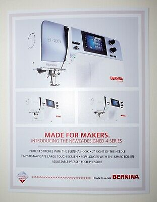 "Bernina Sewing Machine Model B 480 Two-Sided Window Peel & Stick Ad 8.5"" x 11"""