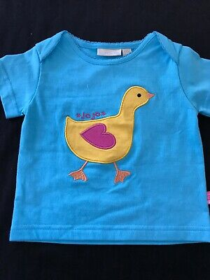 JoJo Maman Bebe NWT Cotton Knit Aqua Duck Appliqué Shirt - 6-12 Months