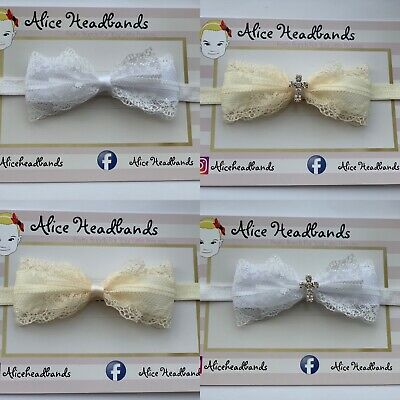 Baby Girl White/Cream Christening Headband Baptism Wedding Bow Cross Hairband