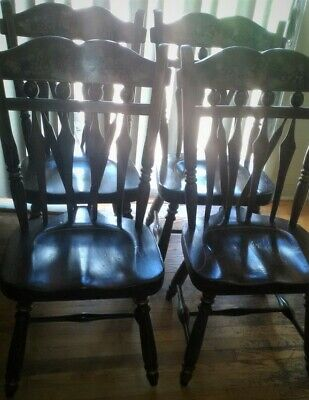 Set 4 Ethan Allen Hand Decorated Antiqued Old Tavern Pine Dining Chairs 14 6042