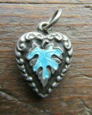 VINTAGE 1940's Sterling Silver TURQUOISE ENAMEL Puffy Heart Charm~'Mama'