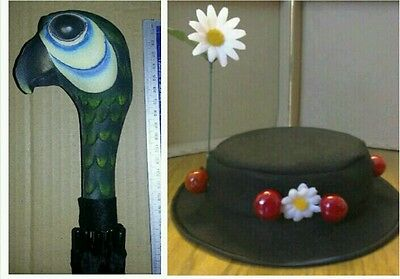 """LADIES Mary Poppins  Hat..22 12"""" & parrot head brolly. FAST POST OPTION LISTED"""
