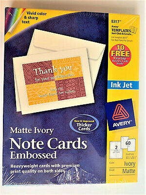 """AVERY 8317 Note Cards Matte Ivory Two-Sided Printing  4-1/4"""" x 5-1/2""""  60 Cards"""