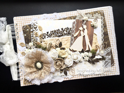 Rustic vintage handmade wedding guest book album with flowers lace embellishment