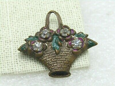 Victorian Rhinestone Floral Basket Brooch, C-Clasp, late 1800's, Brass Enameled