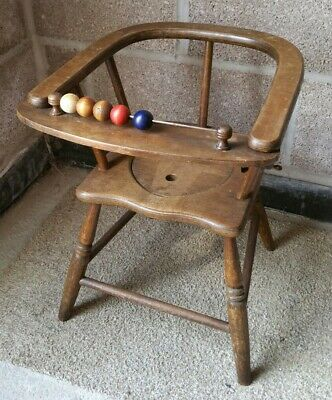Antique Child's Wooden Potty Training Chair Complete With Bead Bar