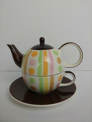 New HuesNBrews Onesy Stacked Teapot Cup & Saucer. Pastel Stripes w/ Rich Brown.