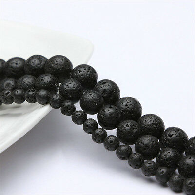 Natural Stone Round Black Volcanic Lava Rock Stone Beads For Jewelry Making 15""