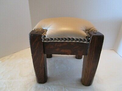 ANTIQUE VINTAGE tacked Vinyl & Solid Oak wood Foot Stool Ottoman
