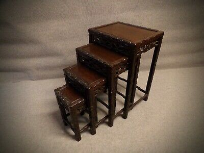 Set of 4 Chinese Nest of Tables Quality Hardwood Hand Carved