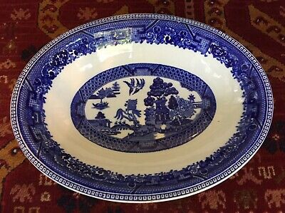 Antique BUFFALO CHINA Blue Willow Oval Serving Dish Bowl