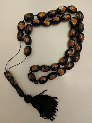 Antique Black Coral Yusr And Amber Syrian Worry Prayer Beads Komboloi (32+1)