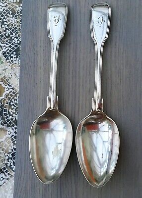 WS DESSERT SPOONS x2 - FIDDLE THREAD MONOGRAM F - ANTIQUE SILVER PLATE CUTLERY