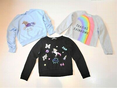 Next & H&M Girls Unicorn Rainbow Sweatshirts Bundle Age 8 Years