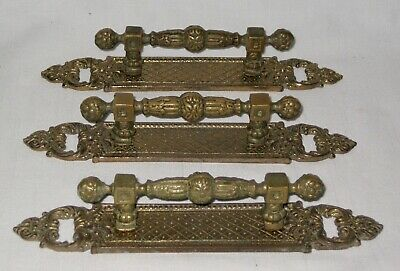 Vintage Antique Neoclassical Solid Brass Drawer Pull Handles Old World Portugal