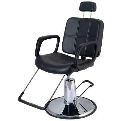 NEW Black Faux Leather Adjustable Reclining Beauty Barber's Hairdresser Chair