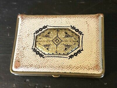 1920/30's Leather Covered Book Style Compact By Mondaine