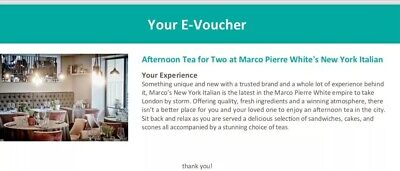 Afternoon Tea for 2 at Marco Pierre White's New York Italian London Gift Voucher