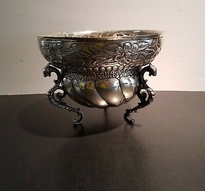 ** Large Alfredo Ortega 1930's Handwrought Mexican Sterling Silver Center Bowl *