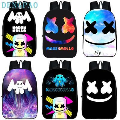 DJ Marshmello Guy School Bag for Teenager Boys and Girls Kids Marshmallow face