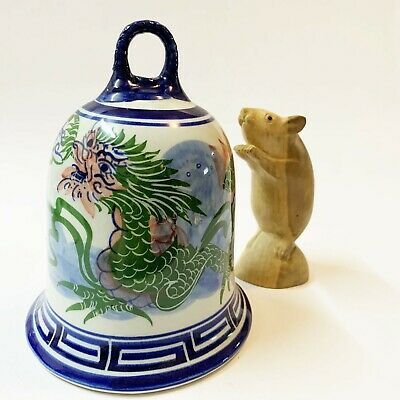 Large Porcelain Chinese Dragon Bell, 16cm Tall, 510 gms!