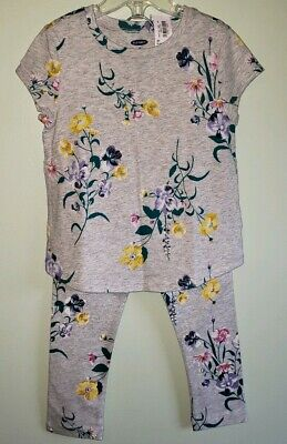 Old Navy Girls 3T Short Sleeve Shirt & Leggings Outfit FLORAL Gray Multi #20819