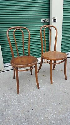 2 Antique Vintage Mid Century Bentwood Thonet Bistro Cafe Restaurant Wood Chairs