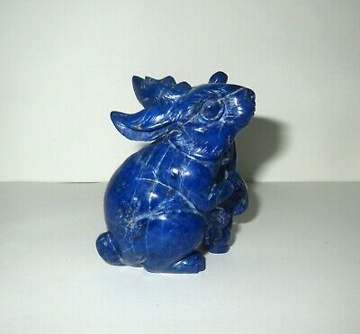 Antique Chinese BLUE LAPIS GEMSTONE - TROUBLESOME RABBITS STATUE Sculpture