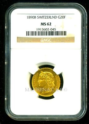Switzerland 1890 B Gold Coin 20 Francs * Ngc Certified Genuine Ms 62 * Pristine