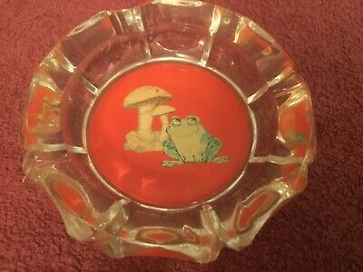 Frog & Mushroom Round Glass Ashtray