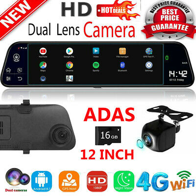Android 8.1 12in 2+32G Car DVR Camera GPS Navi BT Dual Lens Rearview Mirror Dash