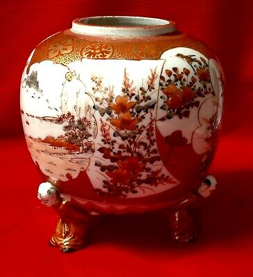 Japanese Kutani Antique Cache Pot Hand Painted Held By 3 Japanese Men Signed