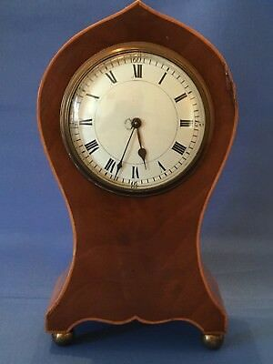 Edwardian Art Nouveau Mahogany Inlaid Balloon Mantle Clock
