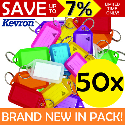 BULK 50x Kevron Key Tags + Paper Inserts Assorted Colours Coloured Key Ring Tag