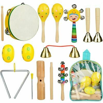 11x Wooden Sound Rattle Music Colorful Toys Set Baby Musical Toys Kids Gifts Use