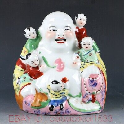 Chinese Porcelain Coloured Drawin Handwork Carved Buddha & Kids Statue CC0476