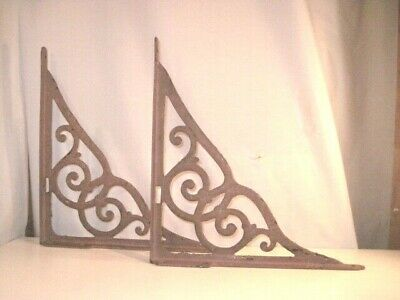 """True Antique Cast Iron Extra Large Shelf Brackets 15"""" By 15 1/2"""" Old Brown Paint"""