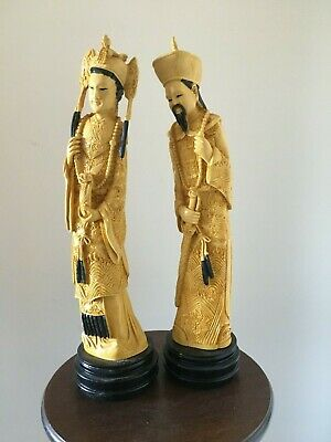 Vintage Chinese Resin Emperor & Empress Statue/Figurines