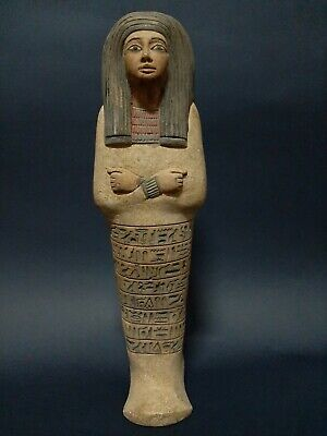 Rare Ancient Egyptian Antiques Ushabti Shabti Queen Statue Luxor Egypt Stone Bc