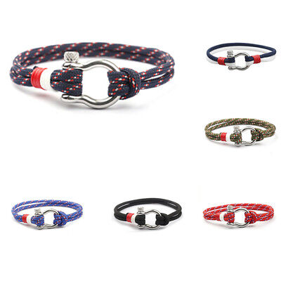 1PC Stainless Steel U Shaped Buckle Paracord Rope Bracelet Sports for Women Men