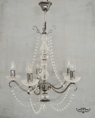 NEXT 5 Light Chandelier Chrome Ceiling Light Glass Cut Bead Chains French Style